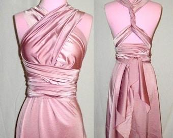 XS- 7XL Dusty Rose Wrap Twist Bridesmaids Dress - 37 Colors - Infinity Convertible Dress,  Wedding Dress, Bohemian Dress,  Maternity Dress