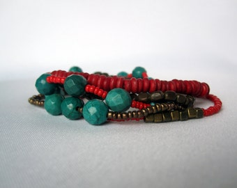 Stacking Bracelets - Red and Turquoise Bohemian Layering Bracelets - Handmade Healing Crystals - Jewelry - Boho