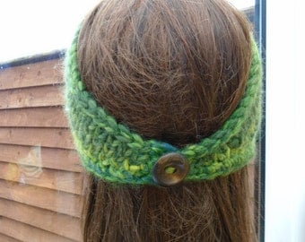 CELTIC irish granny shades of green bandana beanie wrap soft wool blend with wood button unique OOAK