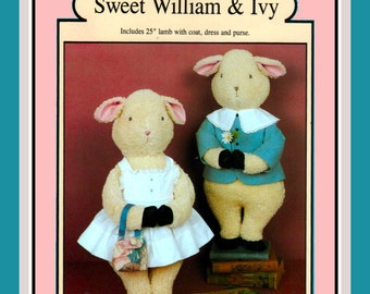 Vintage 1986- SWEET WILLIAM & IVY Lamb Dolls-Sewing Pattern-Jacket-Pinafore-Purse-25 Inches High-Uncut-Rare