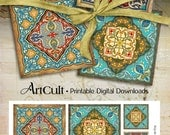 Moroccan ornament Images ORIENTAL COASTERS 3.8x3.8 inch size Printable download Digital Collage Sheet for paper craft decoupage Art Cult