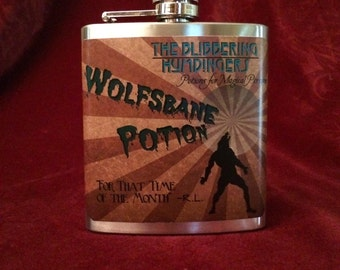 Flask Wolfsbane Potion- Harry Potter Werewolves 6 oz stainless steel kidney flask That Time of the month/ Full Moon! blibbering humdingers
