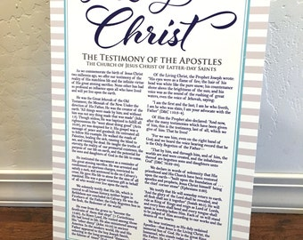 "12x18"" LDS The Living Christ Testimony Metal Aluminum Printed Sign"
