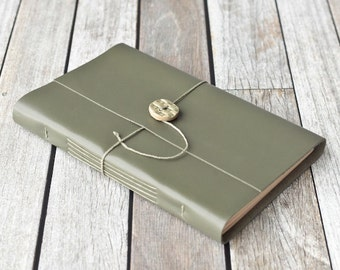 Large Green Leather Journal with Ceramic Button Closure