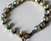 Crystal Bracelet Rhinestone Crystal Brass Heart Charm Sparkle Bracelet Wedding Jewelry Mother Bride Gift Birthday