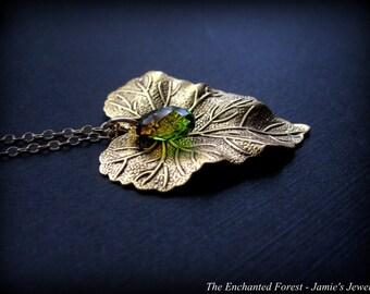 Gold Leaf Necklace -Gold Antique Brass Leaf Necklace - Crystal Leaf Necklace - Gold Rustic Necklace - Natured Inspired Necklace - Green