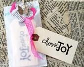 10 choose JOY hand stamped mini tags