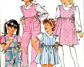 Girls Jumper Romper Dress and Blouse Peter Pan Collar Fast Easy Sewing Pattern Vintage 1980s Butterick 3992 Children Size 5