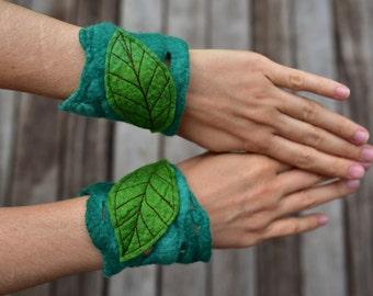 Felt Melted Matching Leaf Cuff Pixie Bracelets OOAK