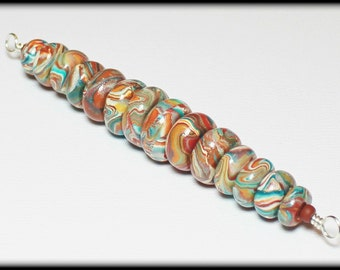 Fiesta... Handmade Polymer Clay Beads Bead Set Turquoise Teal Aqua Terra Cotta Orange Brown Marbled Swirl Southwest Donut Rondelle Sunset
