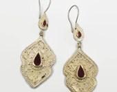 Gypsy Boho Earrings, Vintage Earrings, Kuchi, Kazakh Jewelry, Red Carnelian, Kazakhstan, Afghan Jewelry, Bohemian, Statement, Belly Dance,
