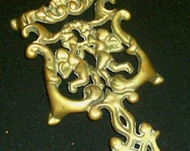 "Vintage WILTON 4 Footed Large 7 1/2"" Cast Iron Brass CHERUB Trivet"