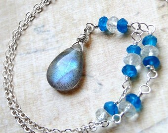 Labradorite Necklace, London Blue Topaz, Prasiolite, Sterling Silver - Seafoam by CircesHouse on Etsy