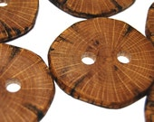 Large Wooden Buttons, Natural Wood Buttons, Rustic Wooden Buttons, Six Handmade Oak Wood Buttons, 1 13/16 Inches (46 mm)