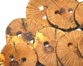 Large Wooden Buttons, Natural Wood Buttons, Rustic Wooden Buttons, Ten Handmade Oak Wood Buttons, 1 7/8 Inches (48 mm)