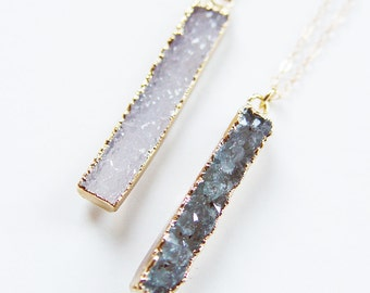 SALE Vanilla Druzy Bar Necklace - Gold, Rectangular