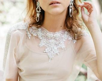 Bridal Chandelier Earrings, Long Wedding Earrings , Crystal Chandelier Earrings ,Opal Swarovski  Earrings ,Antique Silver Wedding Earrings