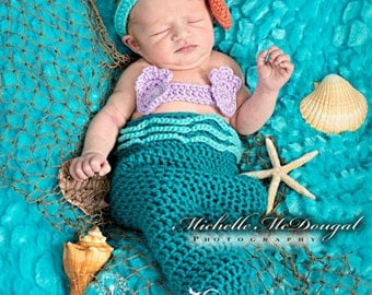 Newborn Mermaid Costume, 0 to 3 month Turquoise Mermaid Tail Photo Prop