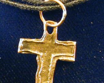 Petite Hand Sculpt Bronze Cross Pendant//PMC Bronze//Handmade in USA//Bronze Cross//Baptism//Gift//Christmas//Confirmation//Accesssories