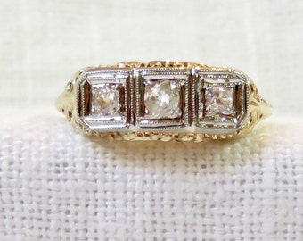 1920s 14k Gold and Diamond Three Stone Engagement Ring .32 Carats