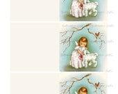 DIY Cute Christmas Angel Foldable Cards Image Digital Download vintage holiday xmas christmas gift tags 1950s lamb bird printables collage