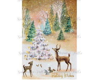 Forest Deer Christmas Image Digital Download vintage transfer card holiday xmas animals christmas card vintage tree 1950s rustic squirrel