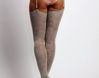 SALE! Ships in 1 business day! Signature pattern stockings in dark ivory