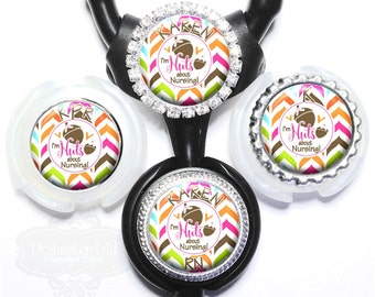 Stethoscope Name Tag - Personalized Colorful Chevron Nuts About Nursing Littmann Id Tag with Name, Monogram, Occupation (A388)