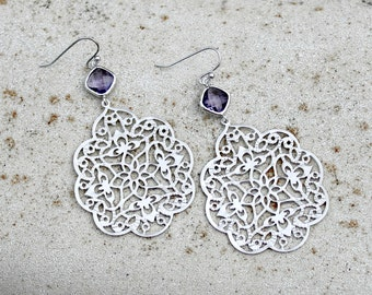 Silver and Purple Chandelier Earrings - Large, Filigree, Crystal, Glass, Jewel, Wedding, Dangle