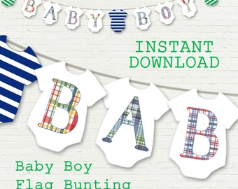 Baby boy banner, madras plaid and stripes, nursery bunting, baby shower, printable instant download, navy and kelly green