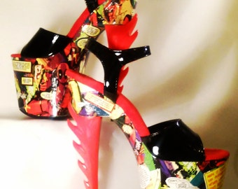 Deadpool Comic Book Dancer Heels Size 7