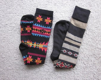 Ikat or Navajo design knee high socks