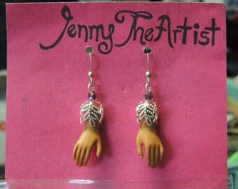 Dangle Barbie Hand, silver, swarovski crystal  Earrings