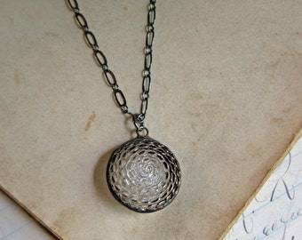 Domed Glass Button Necklace Clear with Gold Repurposed Jewelry Simple Pendant