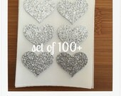 envelope seals - small silver glitter heart stickers - made to order