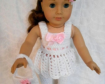 """Crocheted 4pc Pant Top Headband & Purse in White fits 18"""" Child Dolls  #20"""
