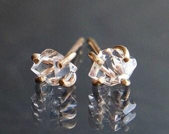 Herkimer Diamond Studs, Raw Quartz Earrings, Healing Crystal Jewelry, Yellow Gold, Rose Gold