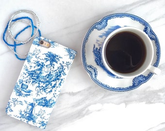 Wallet Phone Case Toile Blue and White, iPhone 6S Plus Womens Wallet Credit Card Holder iPhone 7