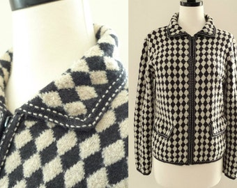 Harlequin Black White Zip Front Cardigan Jacket Wool Blend Sweater Blazer Preppy Diamond Pattern Argyle Plaid Pendleton Jumper Pockets Ska