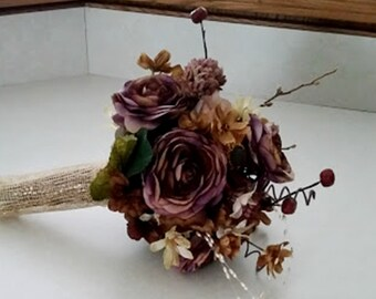 Autumn Wedding Flower Package 4 piece set bridal bouquets boutonnieres accessories Rustic AmoreBride original Plums Browns Gold Fall Winter