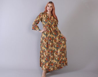 Vintage 70s CAFTAN / 1970s Gauzy Cotton Floral Print Bohemian Maxi Dress XS - S