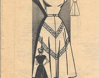 Mail Order 9452 1950s Square Neck Dress Unprinted Vintage Sewing Pattern