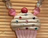 Chunky Beaded Cupcake Statement Necklace -  Handmade Jewelry for Her Birthday