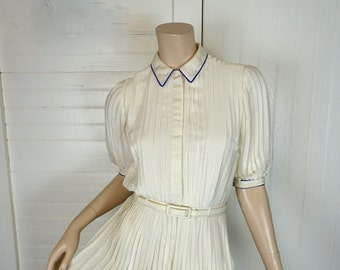 Pleated Ivory Dress- 1980s / 80s- Puffy Sleeves- Marion Maged- Secretary