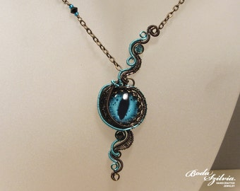 DRAGON EYE NECKLACE - wire wrapped necklace, evil eye jewelry, bronze & teal necklace, steampunk jewelry, gothic jewelry, victorian pendant