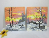 Paint by Number of Wintery Snow Covered Sunset Set of 2