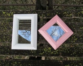 Mirrors Small Wood Framed Pink and White Set of 2