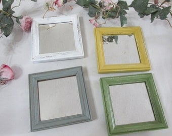 Upcycled Vintage Mirrors Set of 4 Different Colors Instant Collection