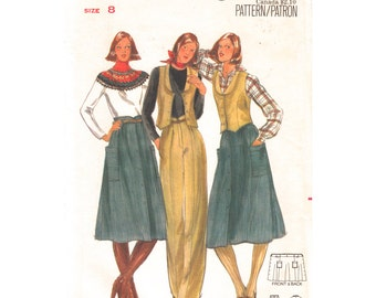 1970s Vintage Pattern Vest Skirt & Pants Butterick 5596 Lined Fitted Waistcoat Buttoned Skirt Trousers Womens Sewing Pattern Size 8 UNCUT