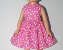 """Pink White Dots Dress Doll Clothes TKCT710 handmade Corolle 13"""" Les Cheries or 14"""" Heart for Hearts"""